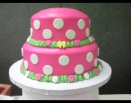2 tier pink / white cirlces