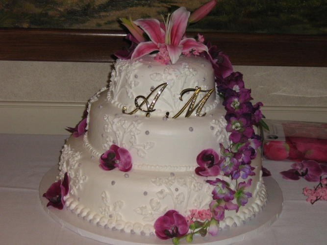 3 Tier Pink And Purple Flowers