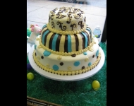 3 tier soft icing stripes dots