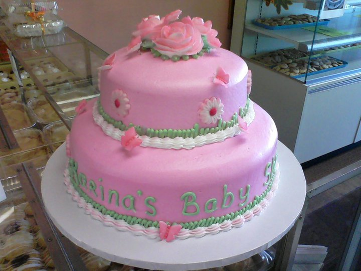 Pink Fondant Look 2 Tier Cake With Daisies